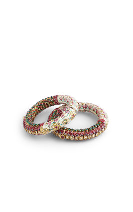MULTI KUNDAN BIKANERI WITH SIDE PEARL SUTKALA BANGLES