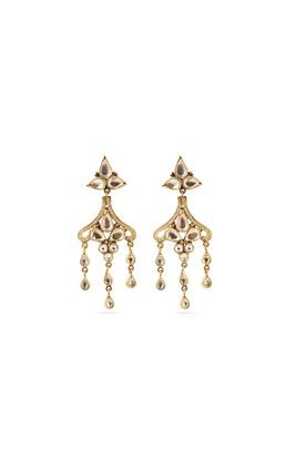 White kundan earrings