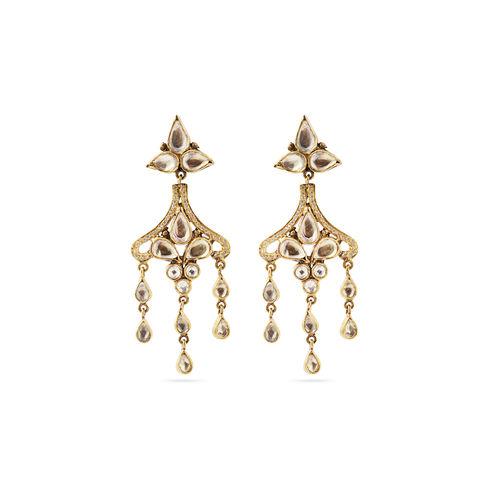 White kundan earrings
