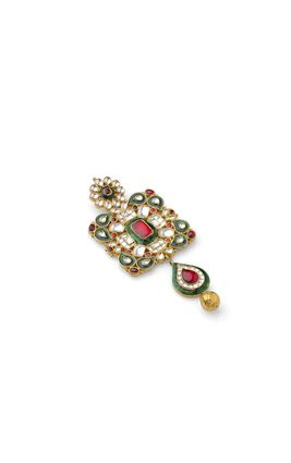 MULTI KUNDAN SQUARE PENDANT SET