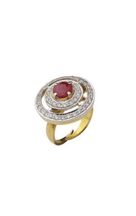 RUBY STONE CZ DIAMOND RING