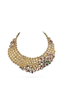 MULTI KUNDAN NECKLACE SET WITH ROUND PIECE