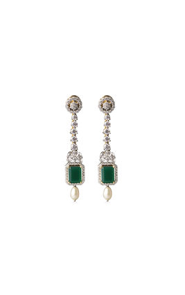 Green onyx stone CZ earrings