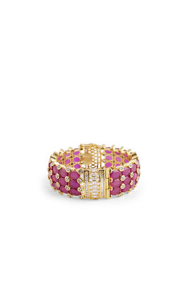PINK JAIPURI STONE WITH DIAMOND BROAD BRACELET