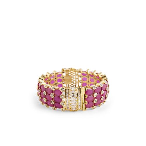 PINK JAIPURI STONE WITH DIAMOND BROAD BRACELET