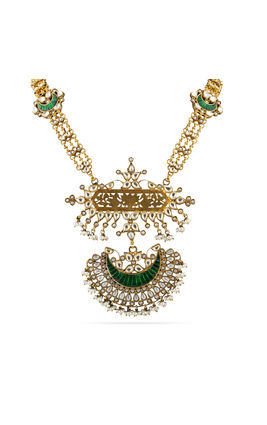 GREEN WHITE KUNDAN STONE PEARL SETTING AASHNA GOLDEN NECKLACE