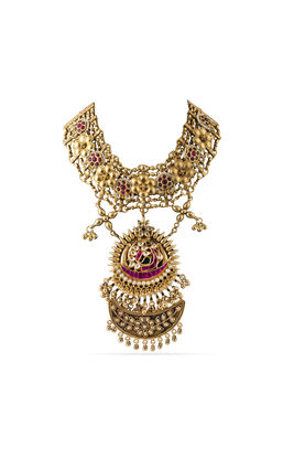 MULTI KUNDAN STONE FLOWER AND JALI DESIGN AASHNA NECKLACE
