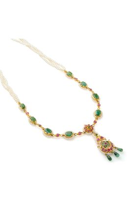 REAL RUBY EMERALD STONE CHINA PEARL NECKLACE SET
