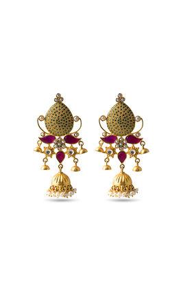 Multi stone long earrings