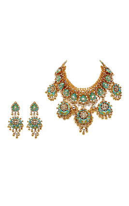 TURQUOISE WHITE KUNDAN CHAND NECKLACE SET