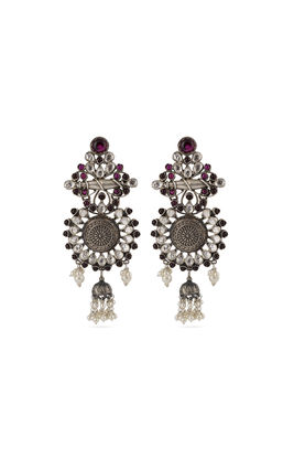 PINK WHITE KUNDAN AASHNA LONG EARRINGS
