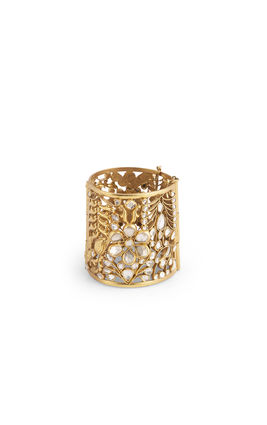 WHITE KUNDAN FLOWER DESIGN BROAD CUFF