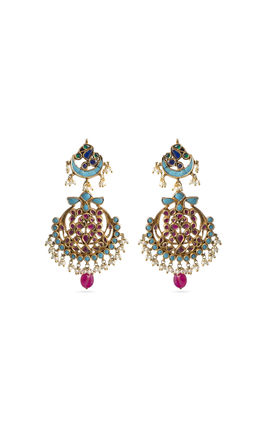 WHITE PEARL & KUNDAN CHAND SHAPED EARRINGS