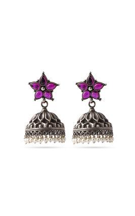 Pink stone 925 silver earrings