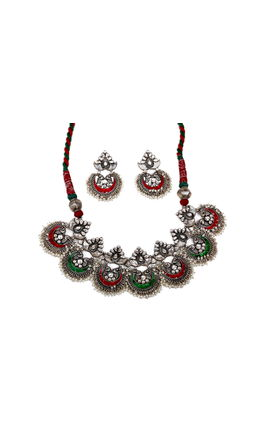 MULTI STONE CHAND NECKLACE SET