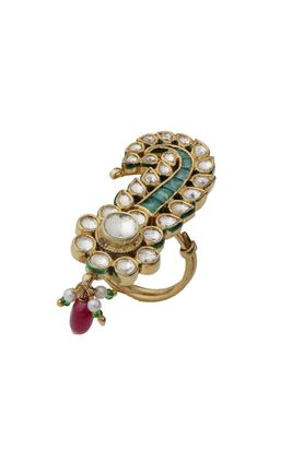 GREEN WHITE KUNDAN RING