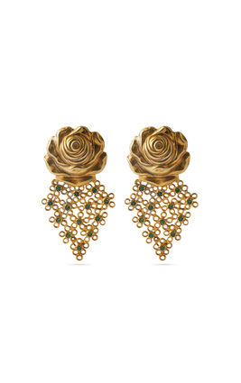 GOLDEN ROSE GREEN STONE EARRING