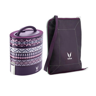 Vaya Tyffyn Stainless Steel Lunch Box With Bag Set, 1000Ml, 3 Pieces, wool