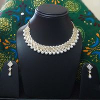 American Diamond and Pearl Necklace-NL002