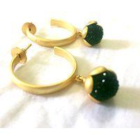 Matte gold and emerald earrings-EG125