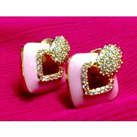 Pink earrings with shining stars-EG116