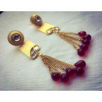 Long beaded and kundan earrings - KEG159