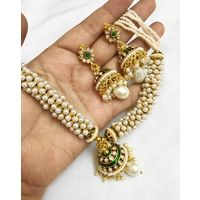 Necklace in pearl clusters and meenakari-KNL091