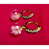 Glass, crystal & Diamond earrings-EG108