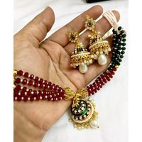 Necklace in pearl clusters and meenakari-KNL092
