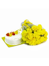 Giftacrossindia Yellow Carnations and Pineapple Cake (GAIMPHD0226)