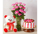 Giftacrossindia Pink Roses Vase with Strawberry Cake and Teddy Bear (GAIMPHD0569)