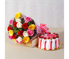 Giftacrossindia Twenty Multi Roses Bunch with Fresh Cream Strawberry Cake (GAIMPHD0317)