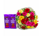 Giftacrossindia Bunch of 20 Assorted Roses with Bars of Cadbury Fruit N Nut Chocolates (GAIMPHD0154)