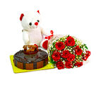 Giftacrossindia Bunch of 10 Red Roses with Cute Teddy and Half Kg Chocolate Cake (GAIMPHD0486)