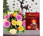 Giftacrossindia Christmas Express Gifts - Colorful Mix Flowers Bouquet With Merry Christmas Greeting Card