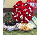 Giftacrossindia Chocolate Cake With Red Roses And Dryfruits