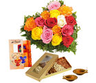 Giftacrossindia Diwali Express Gifts - Diwali Diya And Card With Dry Fruits And Heart Shape Roses Arrangement