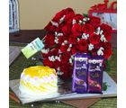 Giftacrossindia Fifty Red Roses Bouquet With Silk Chocolate And Pineapple Cake