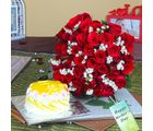 Giftacrossindia Pineapple Cake With Fifty Red Roses Bouquet