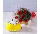 Giftacrossindia One kg Pineapple Cake with Six Red Roses Hand Tied Bouquet (GAIMPHD0563)
