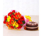 Giftacrossindia Fantastic Bright Floral Bouquet with Chocolate Creamy Cake (GAIMPHD0346)