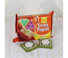 Giftacrossindia Orange Soan Papdi With Tea Light Diya