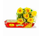 Giftacrossindia Six Yellow Roses Bouquet with 500 Gms Soan Papdi (GAIMPHD0400)
