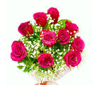 Giftacrossindia Ten Pink Colour Roses Hand Tied Bunch (GAIMPHD0059)