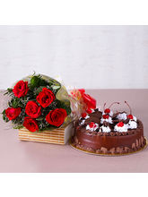Giftacrossindia Anniversary Combo of Red Roses and Cake (GAIMPHD0336)