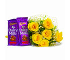 Giftacrossindia Bunch of 6 Yellow Roses with Mouthmelting Cadbury Fruit and Nut Chocolate Bars (GAIMPHD0114)