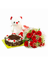 Giftacrossindia Ten Red Rose with Eggless Black Forest Cake and Soft Toy (GAIMPHD0479)
