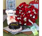 Giftacrossindia Fifty Red Roses And Cake With Teddy For Mothers Day