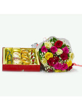 Giftacrossindia Mix Roses Bouquet with 1 Kg Assorted Sweet Box (GAIMPHD0431)
