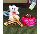 Giftacrossindia Strawberry Cake And Teddy With Toblerone Chocolates For Mom